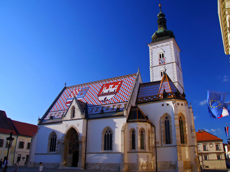 St. Mark's Cathedral in Zagreb with a colorful roof