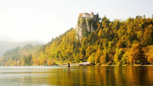 Um castelo na colina rodeado pela floresta