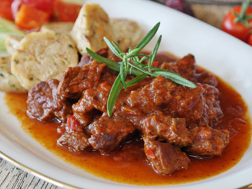 A plate of goulash