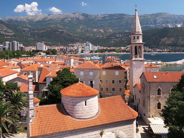 Budva Old Town with traditional stone houses