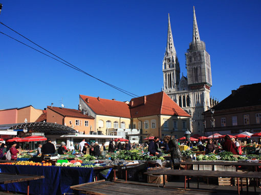 The open market with a cathedral in the back