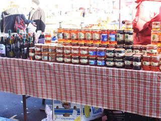 A stand with honey products