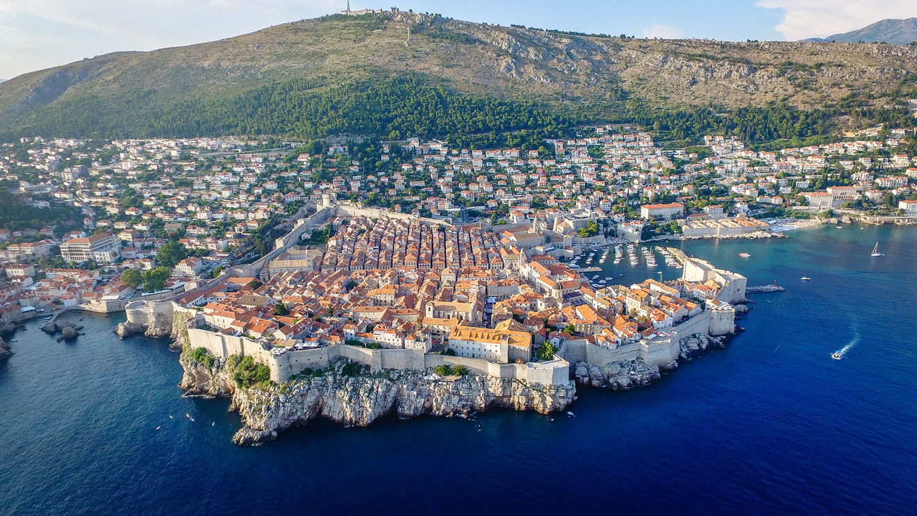Aerial view of the Old Town of Dubrovnik and its surroundings