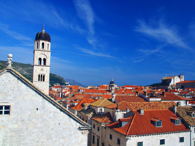 Aerial view of the red roofs in the Old Town of Dubrovnik