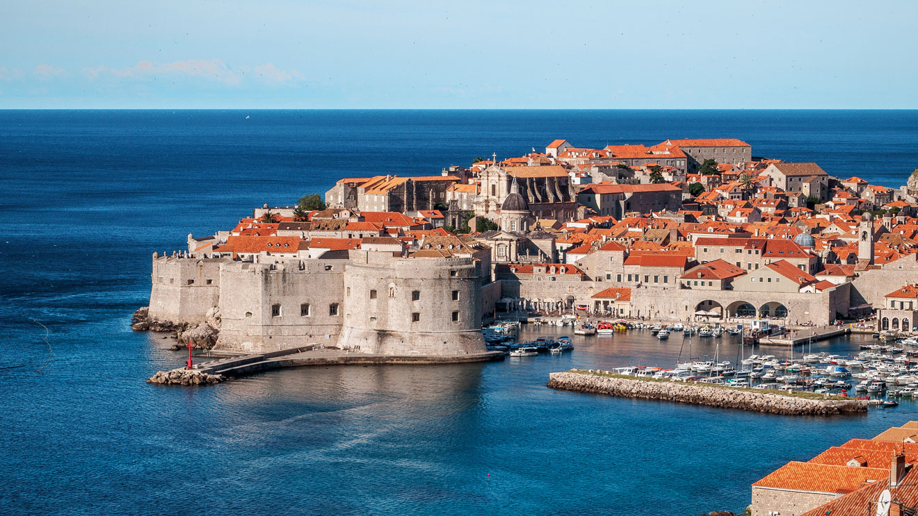 The panoramic view of the walled city of Dubrovnik