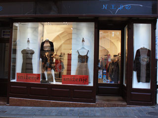 A shop window with mannequins