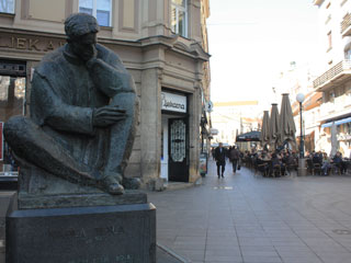 A statue of a man on the square