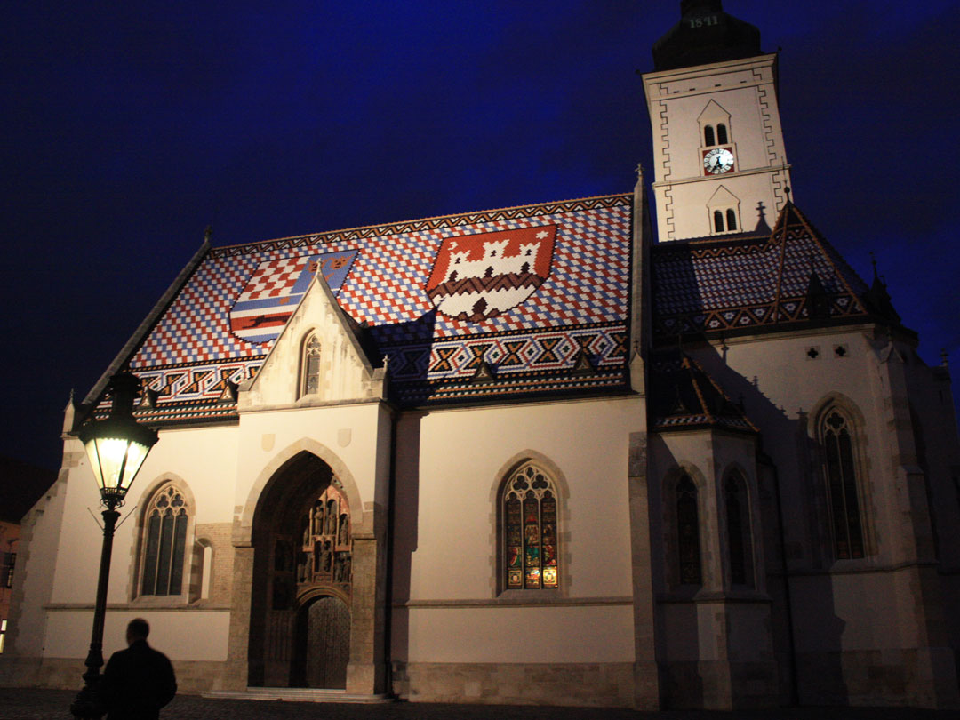 The most iconic church in Zagreb, with a colorful roof