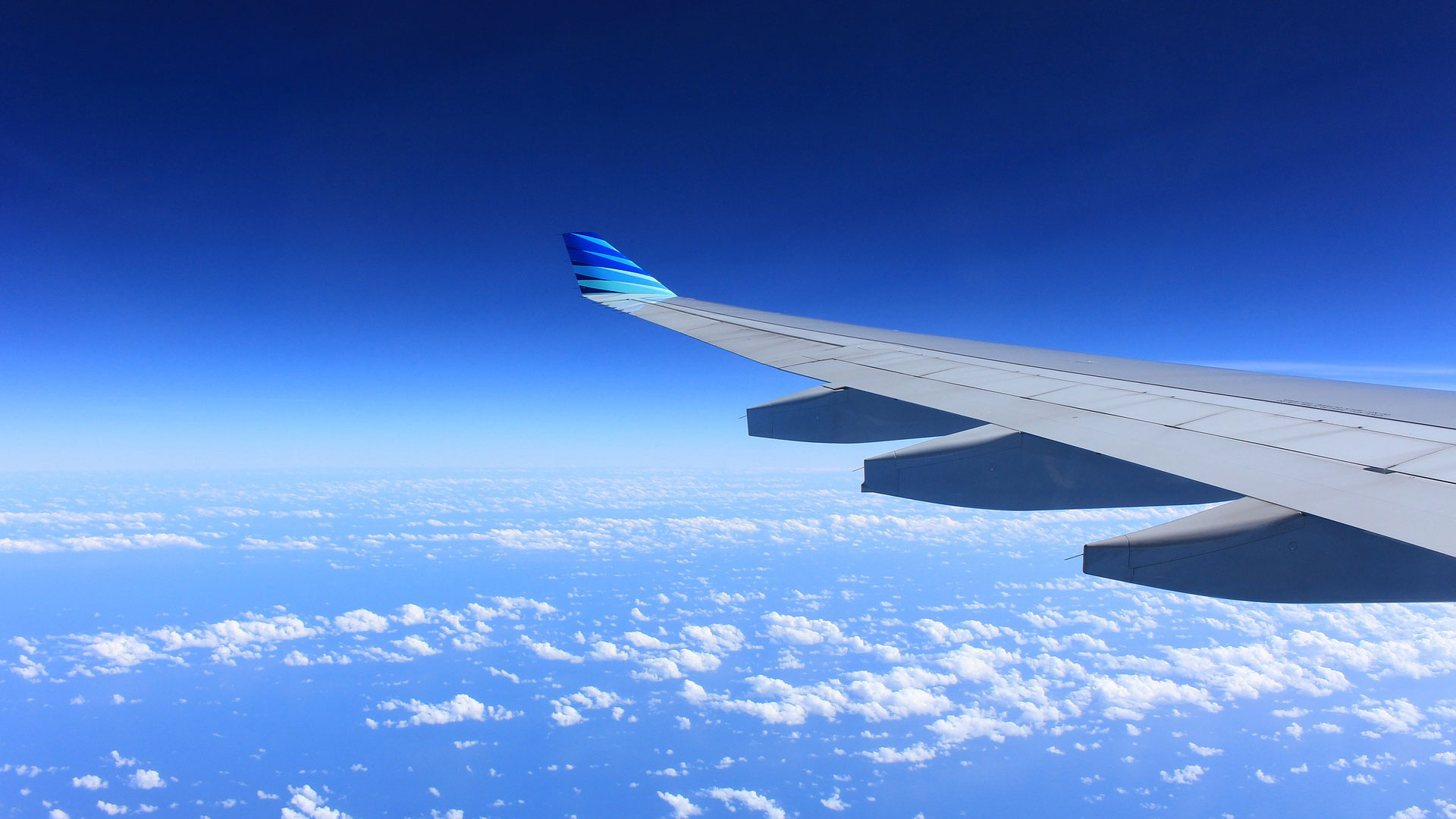 An airplane wing seen from the side