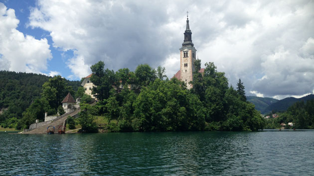 Bled Island in summer, with lots of greenery