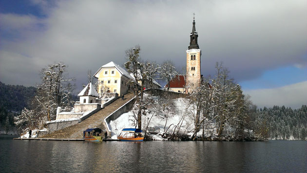 Bled Island in winter, covered in snow