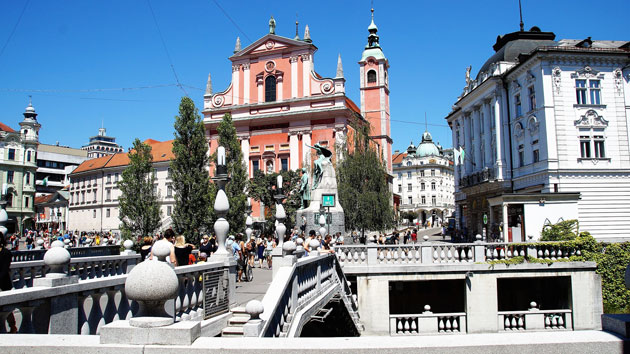 A Praça do Prešeren em Ljubljana