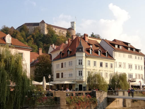 Ljubljana Castle on a hill above the city center