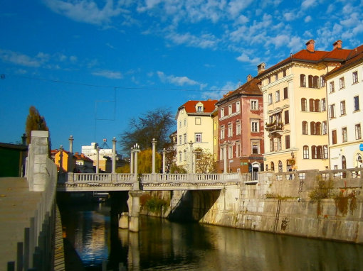 Cobblers' Bridge over Ljubljanica river