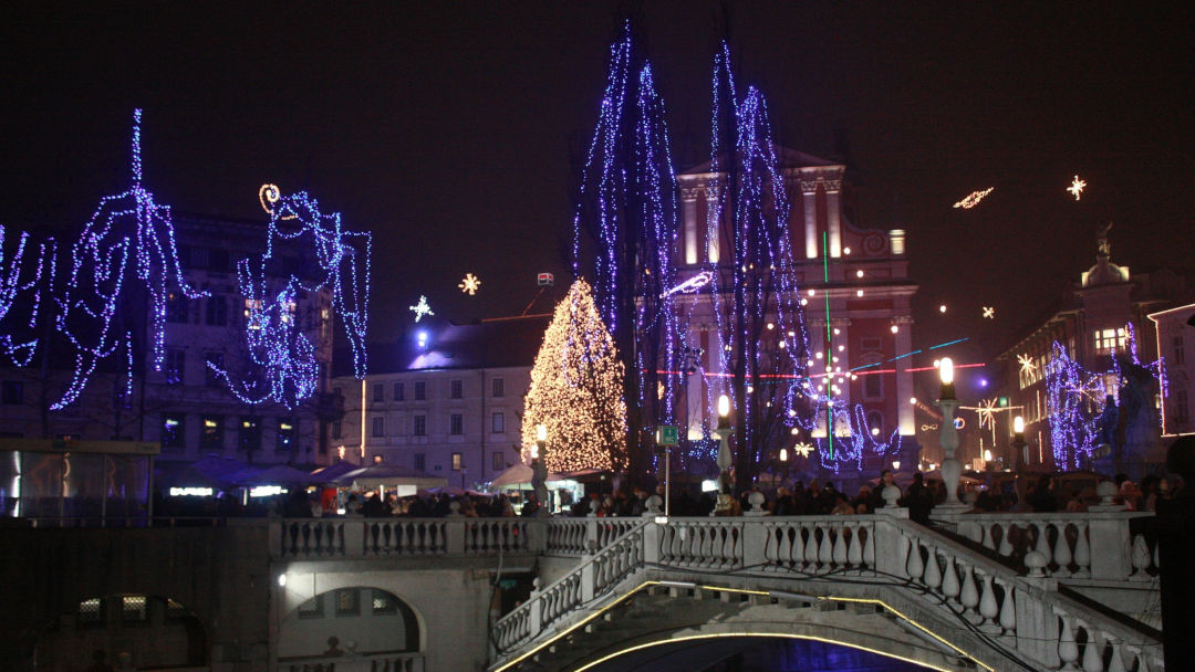 Prešeren Square decorated with Christmas tree and other Christmas decoration
