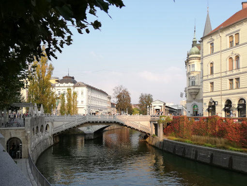 Triple Bridge over Ljubljanica river
