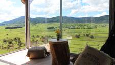 Uma grande janela com vista para campos verdes
