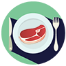 O clipart do prato com a carne