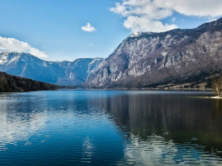Lake Bohinj surrounded by mountains