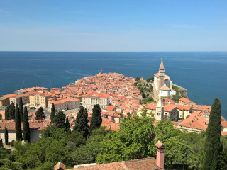 Panoramic view of the old town of Piran