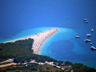 Aerial view of the sandy beach on the Island of Brač