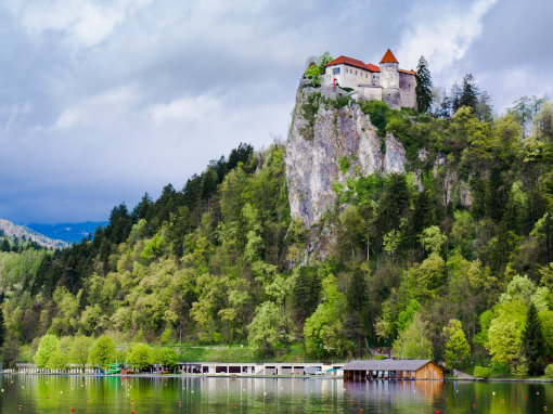 Bled Castle on a hill above the lake surrounded by trees