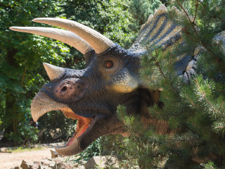 Real size dinosaur replica in the forest
