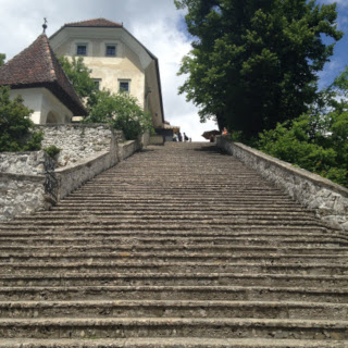 Hundred stone steps on the Bled Island