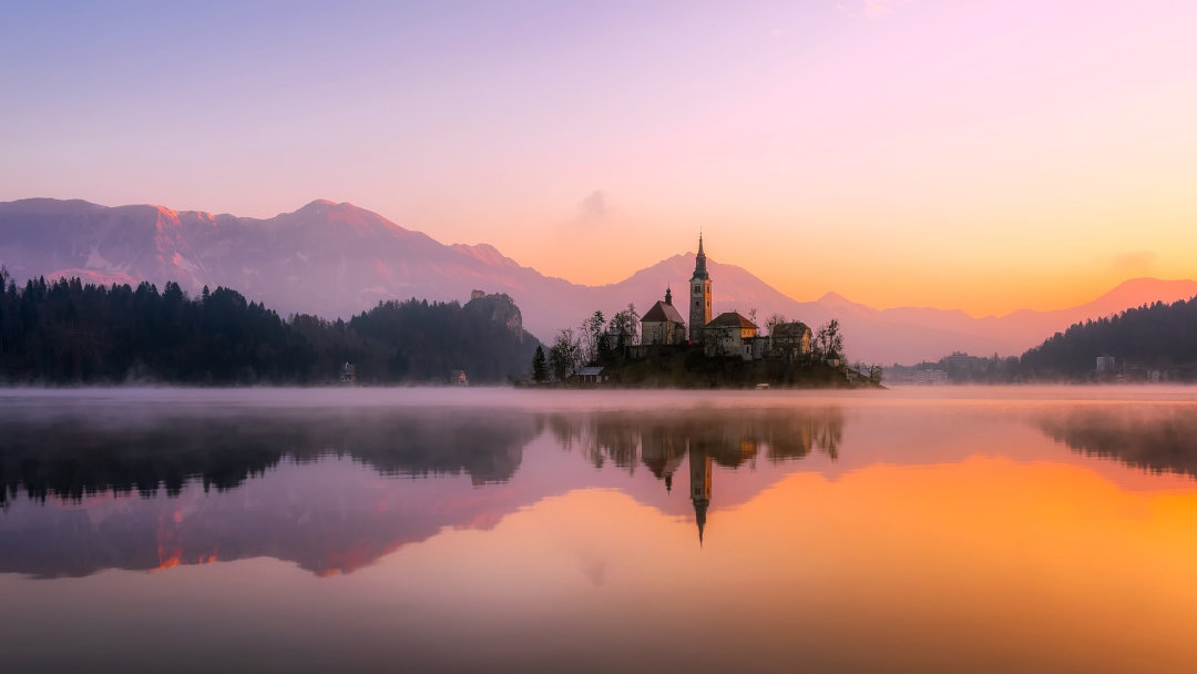 Bled Island and its reflection in the water of the lake