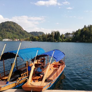 Two wooden boats in the lake