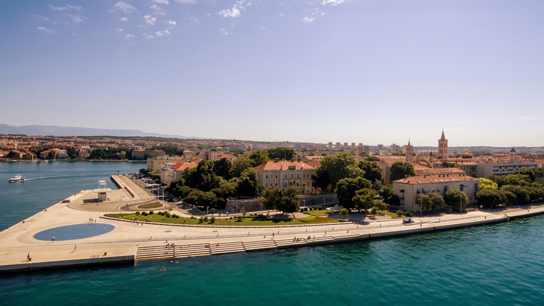 Zadar's boardwalk seen from the air