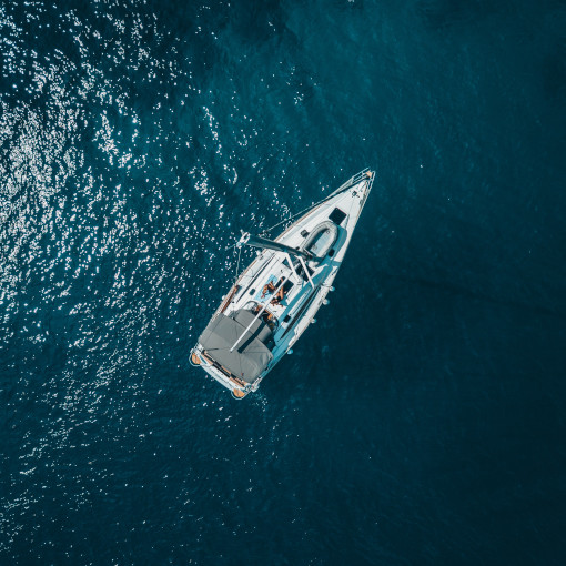 Aerial view of sailing boat