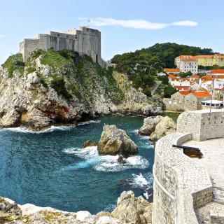 A forte situada numa rocha no mar