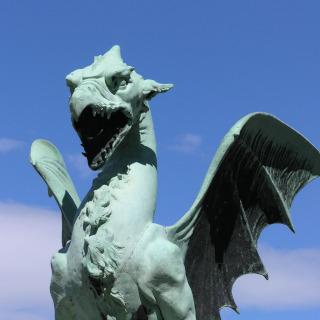 A statue of the Ljubljana Dragon