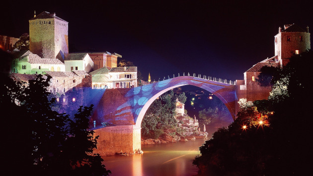 Mostar's bridge at night