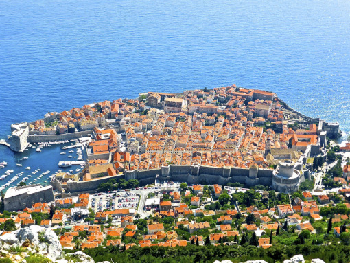 The historic center of Dubrovnik seen from the air