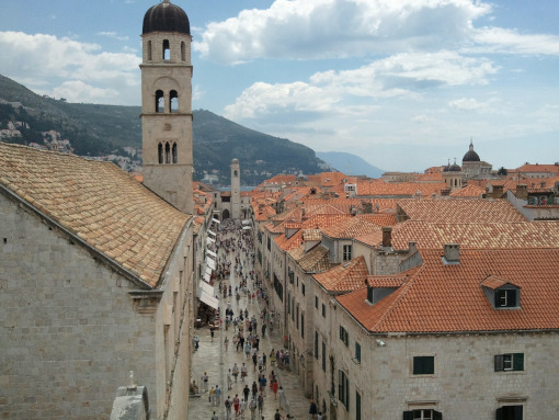 The main street of Dubrovnik, full of people, seen from the above