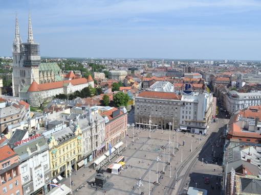 Aerial view of the Ban Jelačić Square in Zagreb