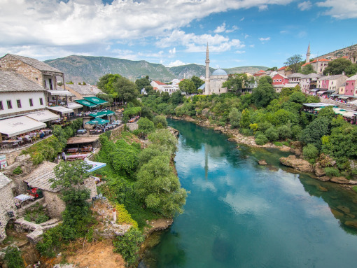 Neretva river flowing throught the town