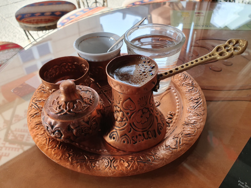 Copper tray with coffee set