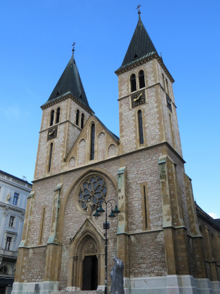 Church with two towers made of stone