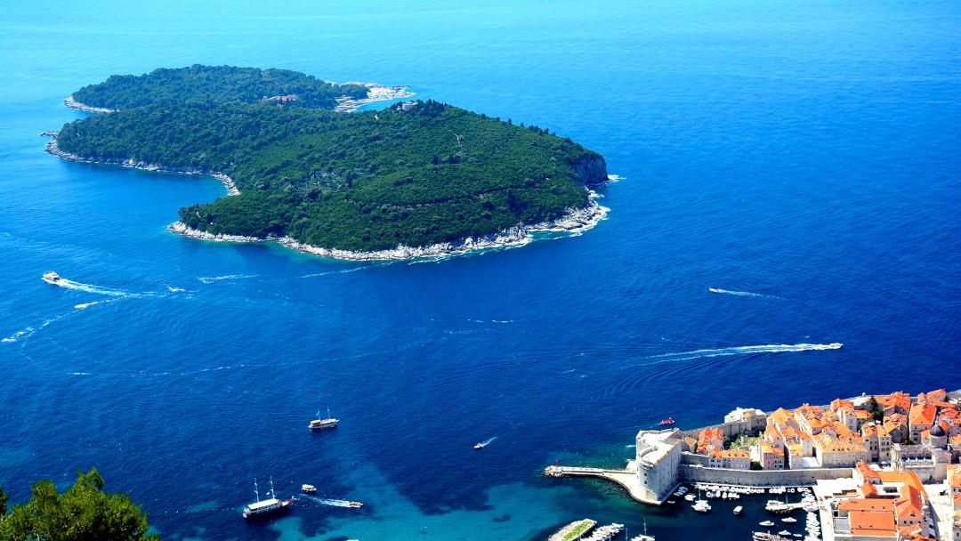 Vista aérea de uma ilha verde