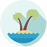 Clipart image of an island with a palm tree