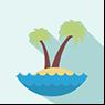 Clipart imagem de uma ilha no mar com palmeira