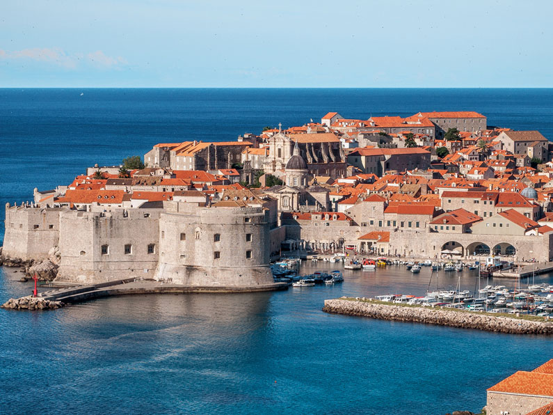 The walled city of Dubrovnik seen from the sea