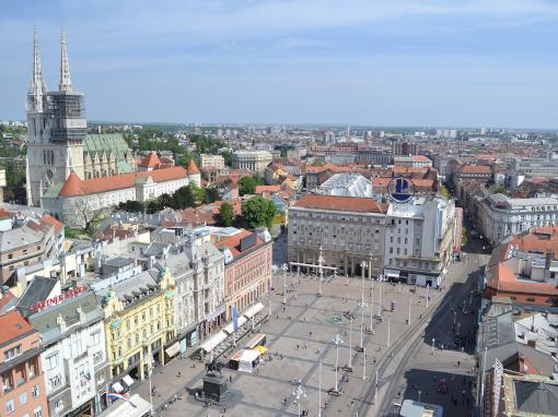 Vista aérea de la plaza principal de Zagreb