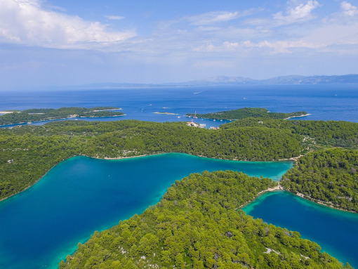 Mljet Island as seen from the above, covered in wood