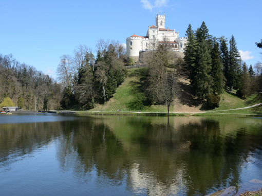 A medieval castle with white decorated facade on a hill above the lake