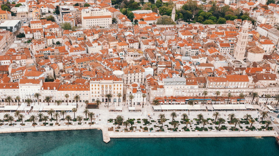 Panoramic view of the Split city center