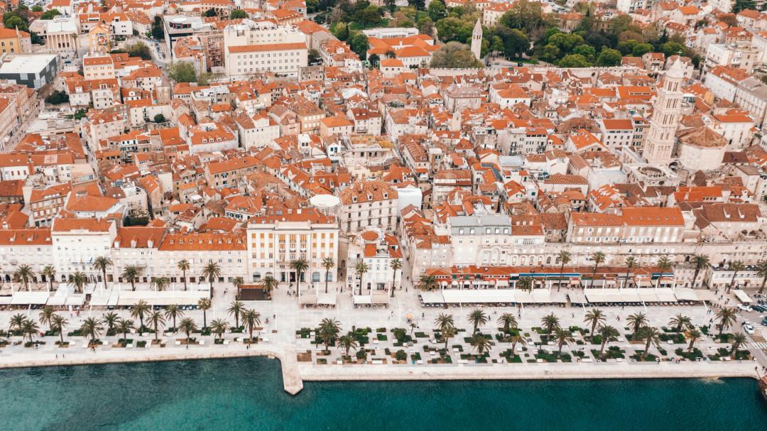 Vista aérea do centro histórico de Split